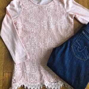 J Crew Crochet Lace-front 3/4 Sleeve Top